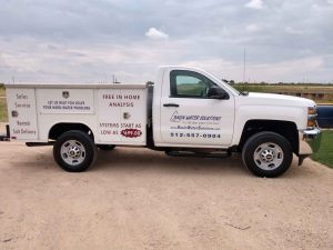 Basin Water Solutions truck to provide home filtration services